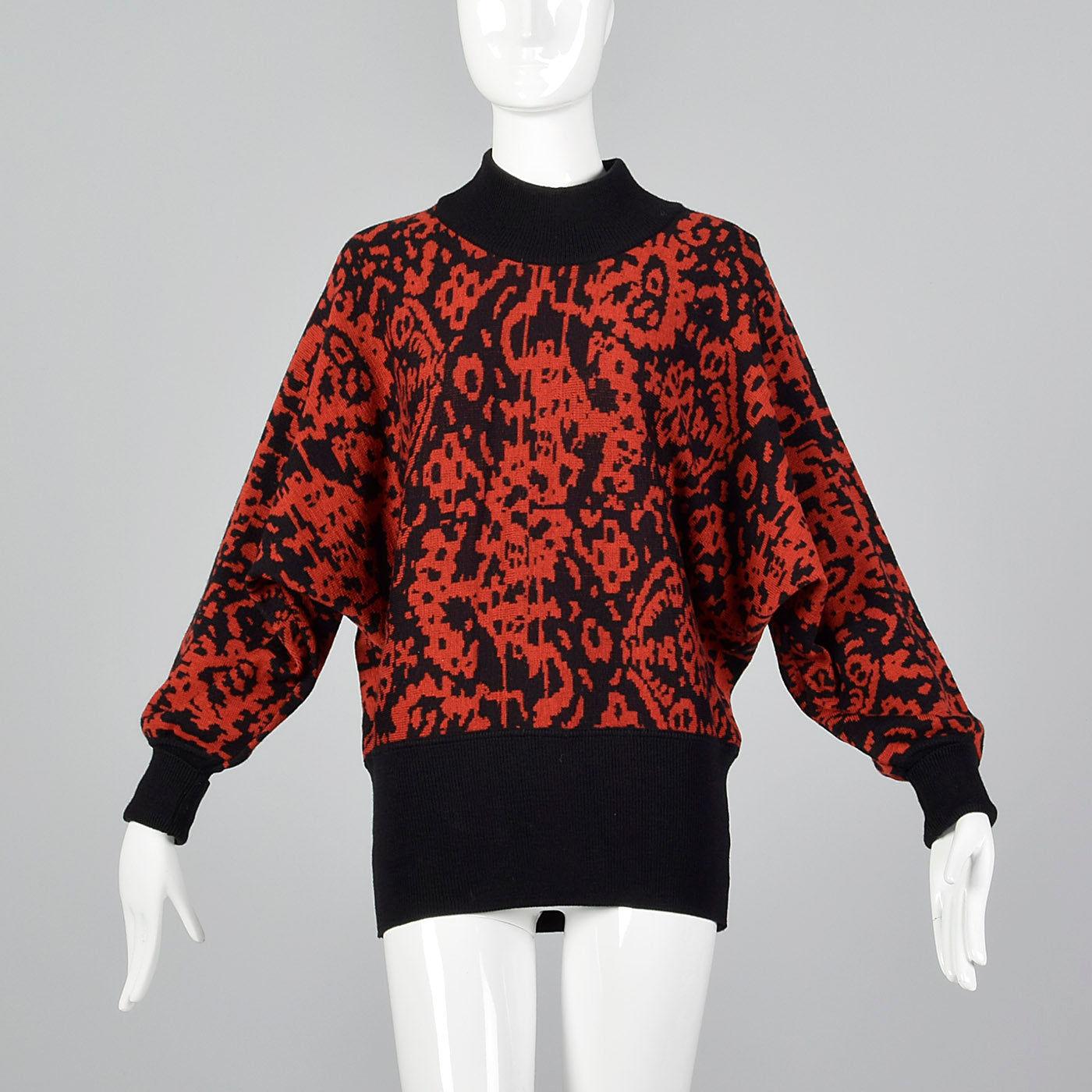 1980s Jaeger Oversized Abstract Sweater In Red Black Style Salvage