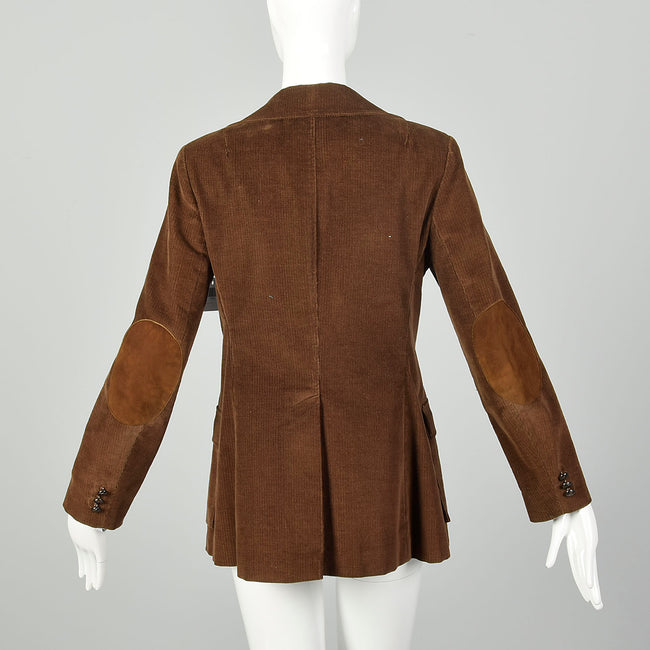 Small 1970s Brown Corduroy Blazer Casual Boho Hippie Jacket