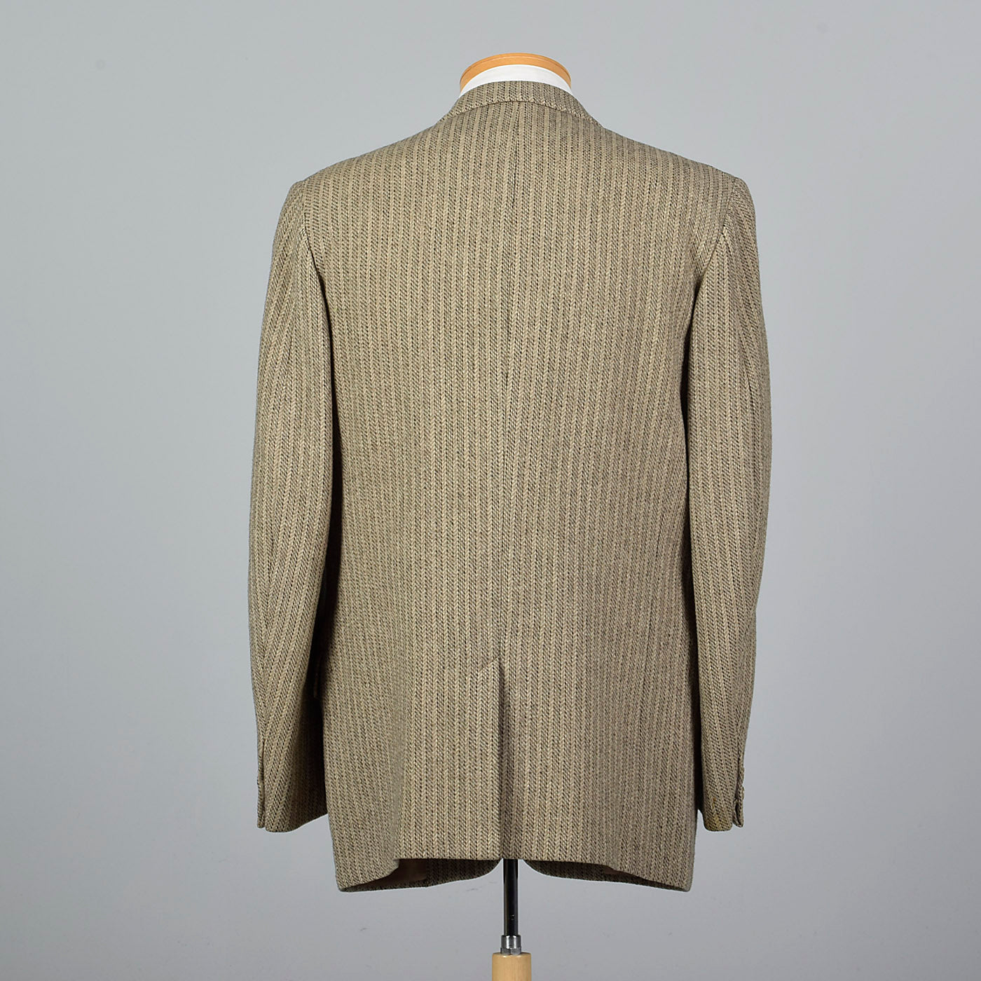 1950s Tan Tweed Stripe Jacket with Convertible Pockets