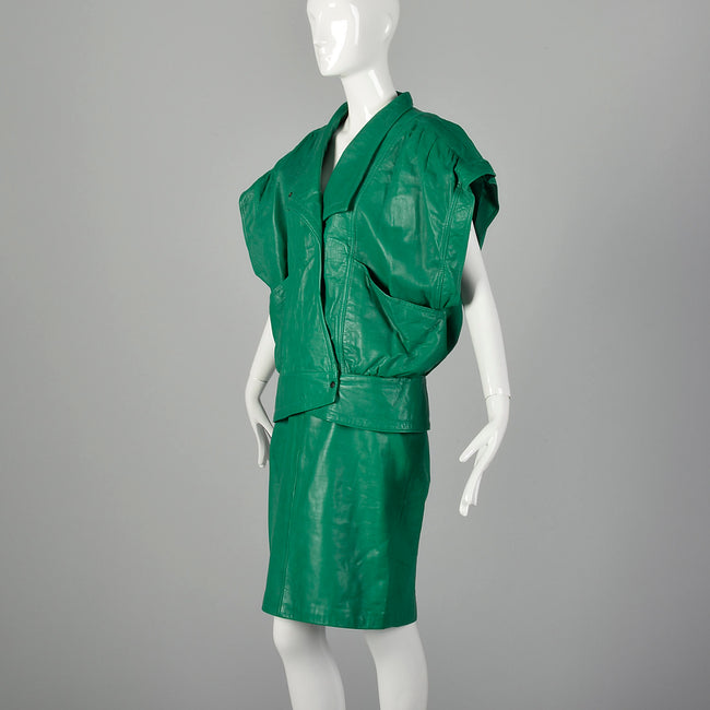 Medium Michael Hoban for North Beach Leather 1980s Green Leather Skirt Set