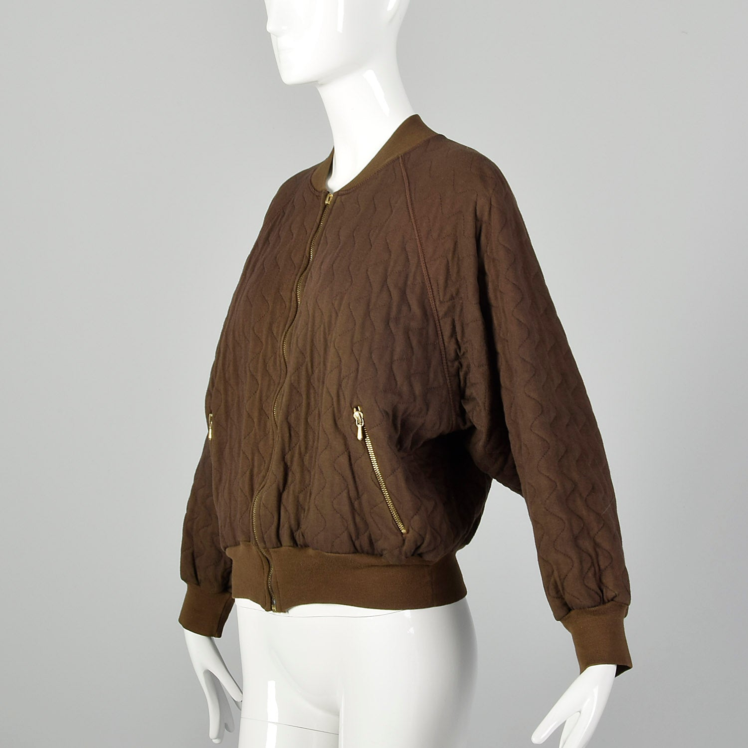 XL Sonia Rykiel 1990s Brown Quilted Bomber Jacket