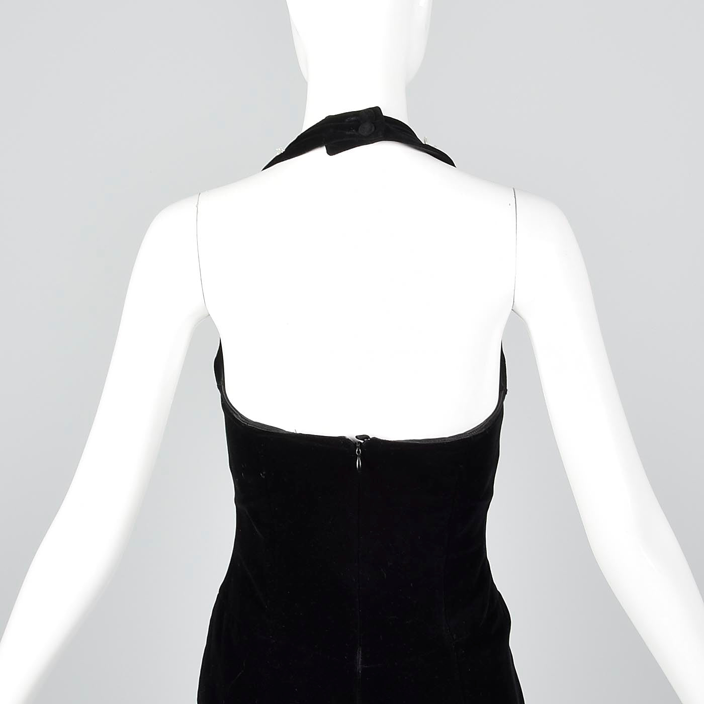 1980s Escada Black Velvet Dress with Faux Pearl Trim