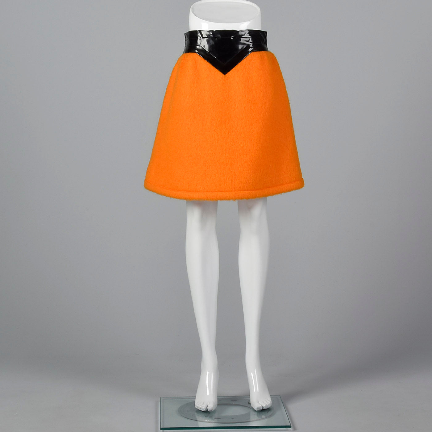 1960s Pierre Cardin Space Age Mod Orange Mohair and Black Vinyl Mini Skirt