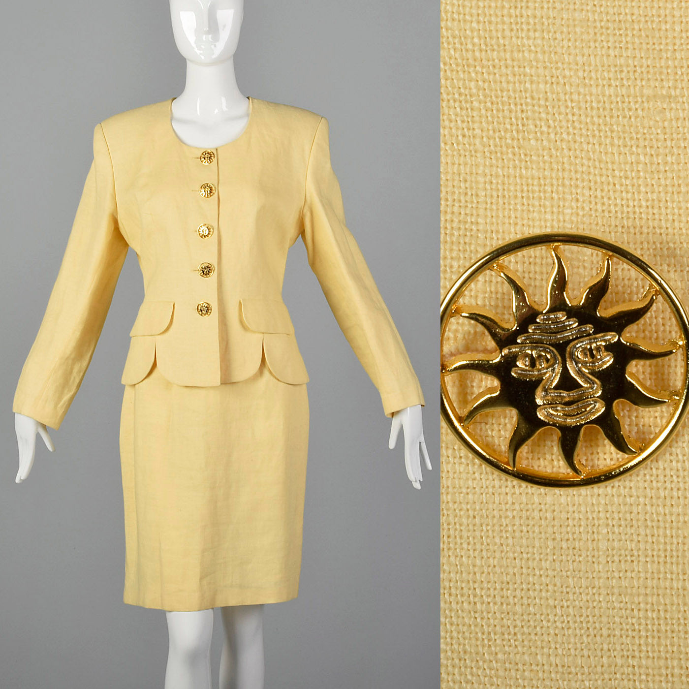 1990s Moschino Cheap & Chic Yellow Linen Skirt Suit