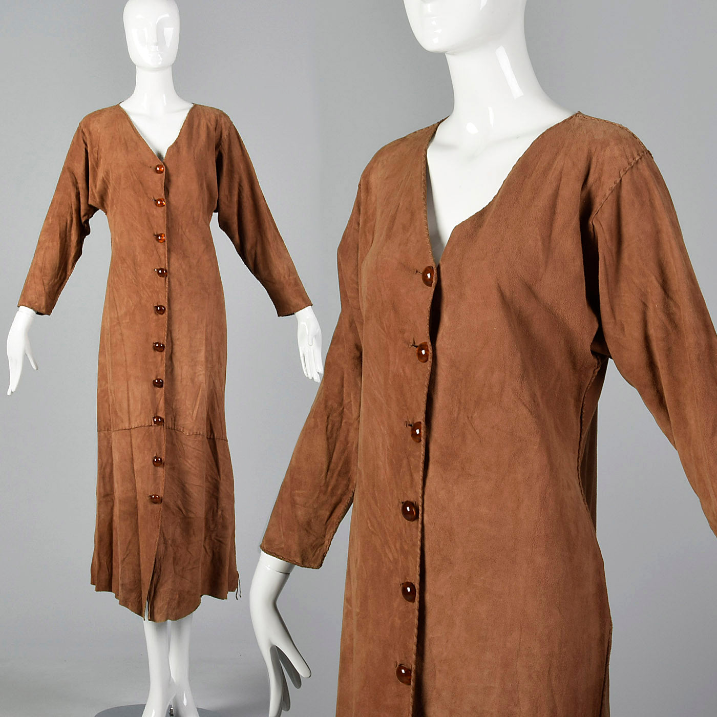 2000s Brown Suede Leather Dress