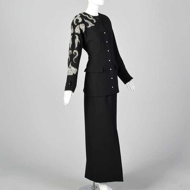 Small Miguel Cruz 1980s Two Piece Skirt Suit