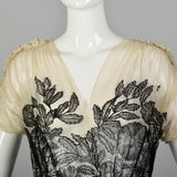 XS 1930s Old Hollywood Silk Gown Lace Black Ivory Panels Summer Sheer Flowy Sweeping Gown