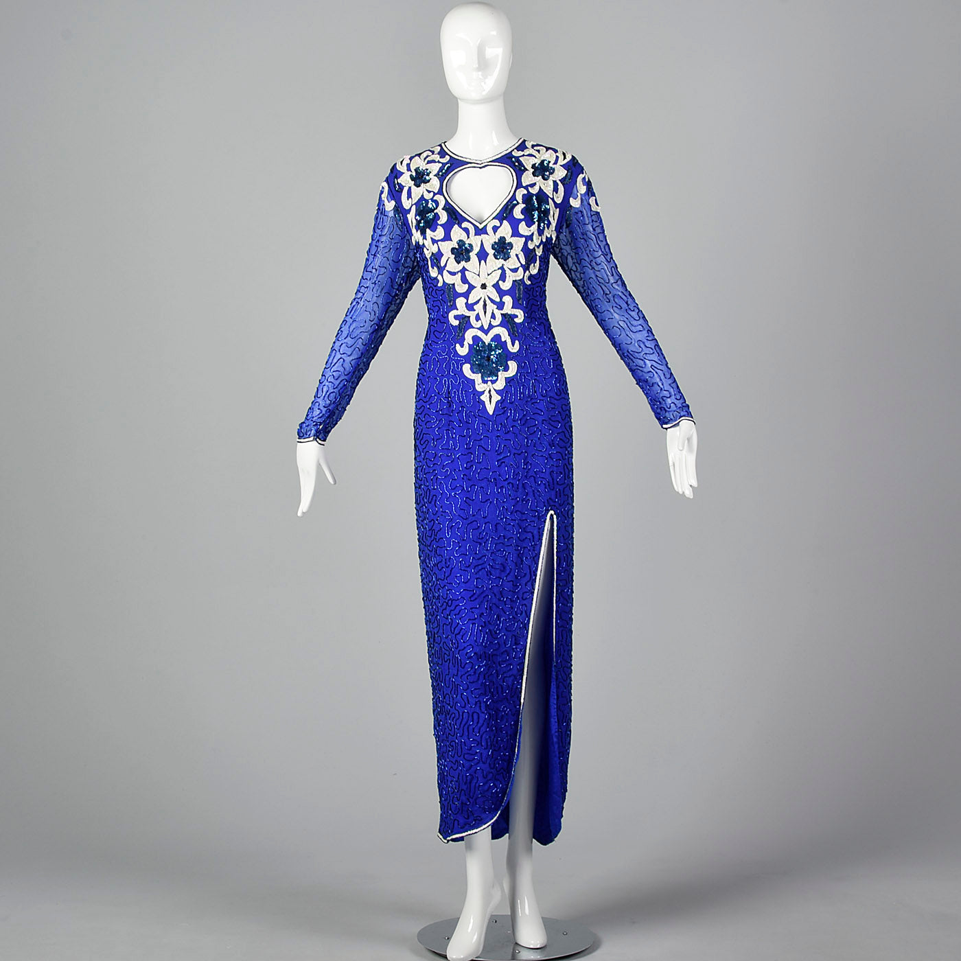 1980s Blue Beaded Evening Dress