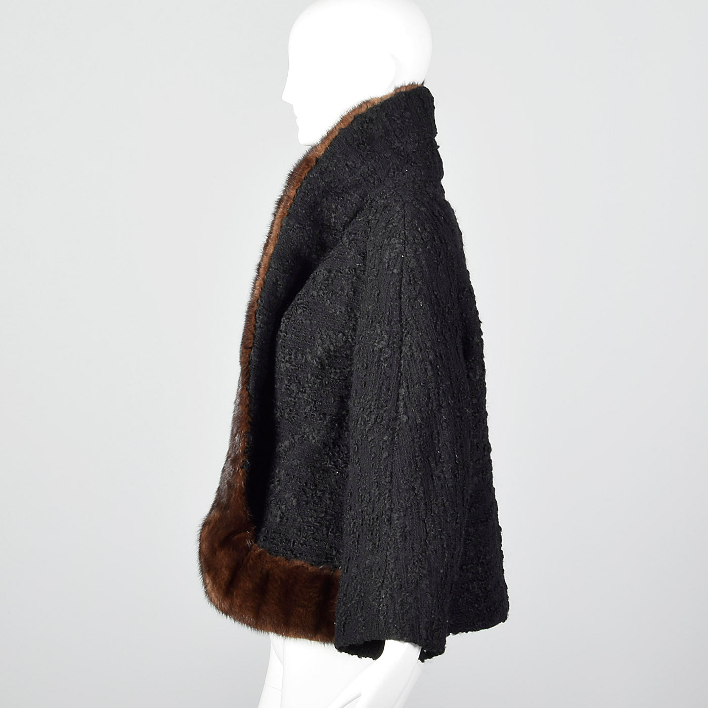 1950s Black Boucle Wool Coat with Mink Trim