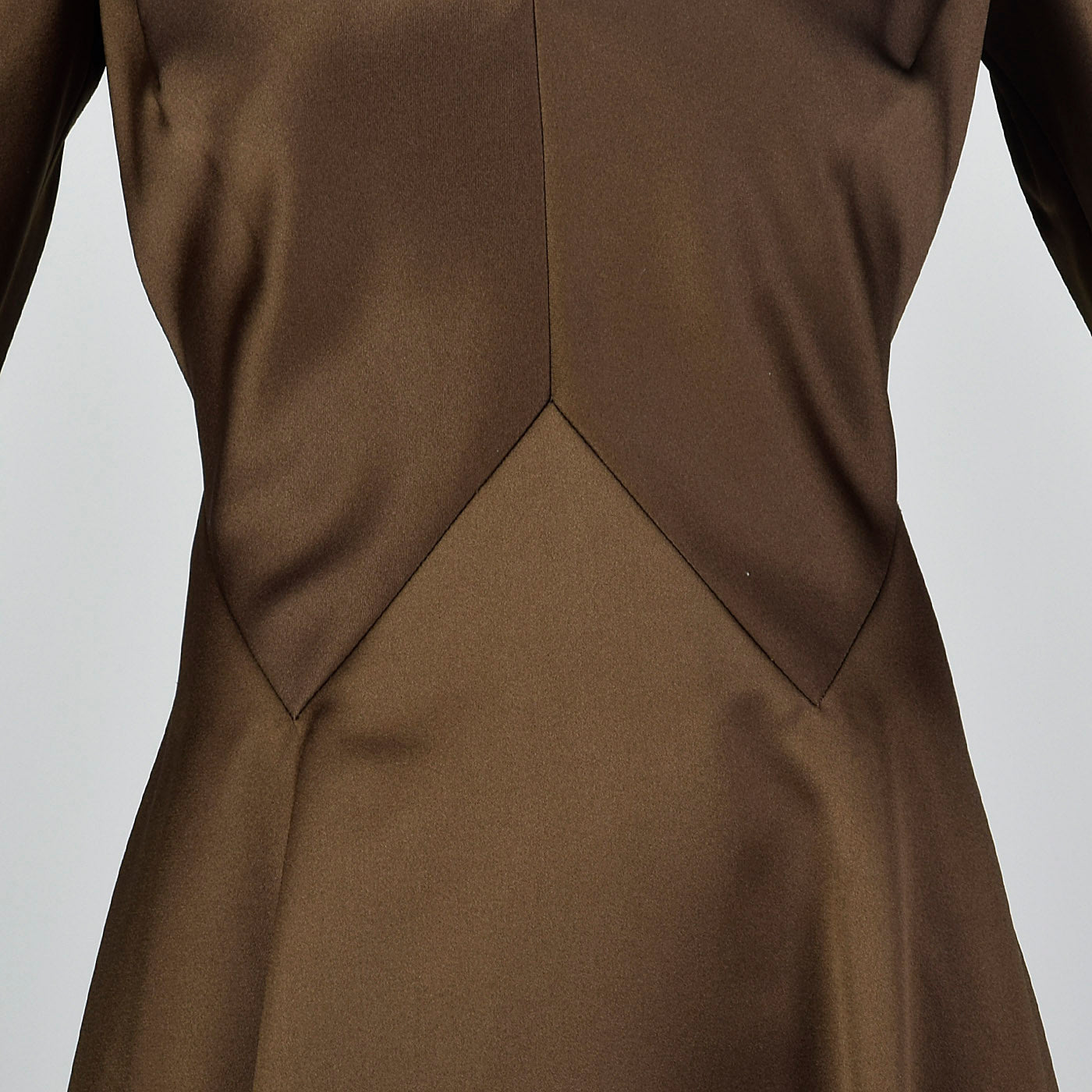 1970s Pauline Trigere Brown Satin Dress