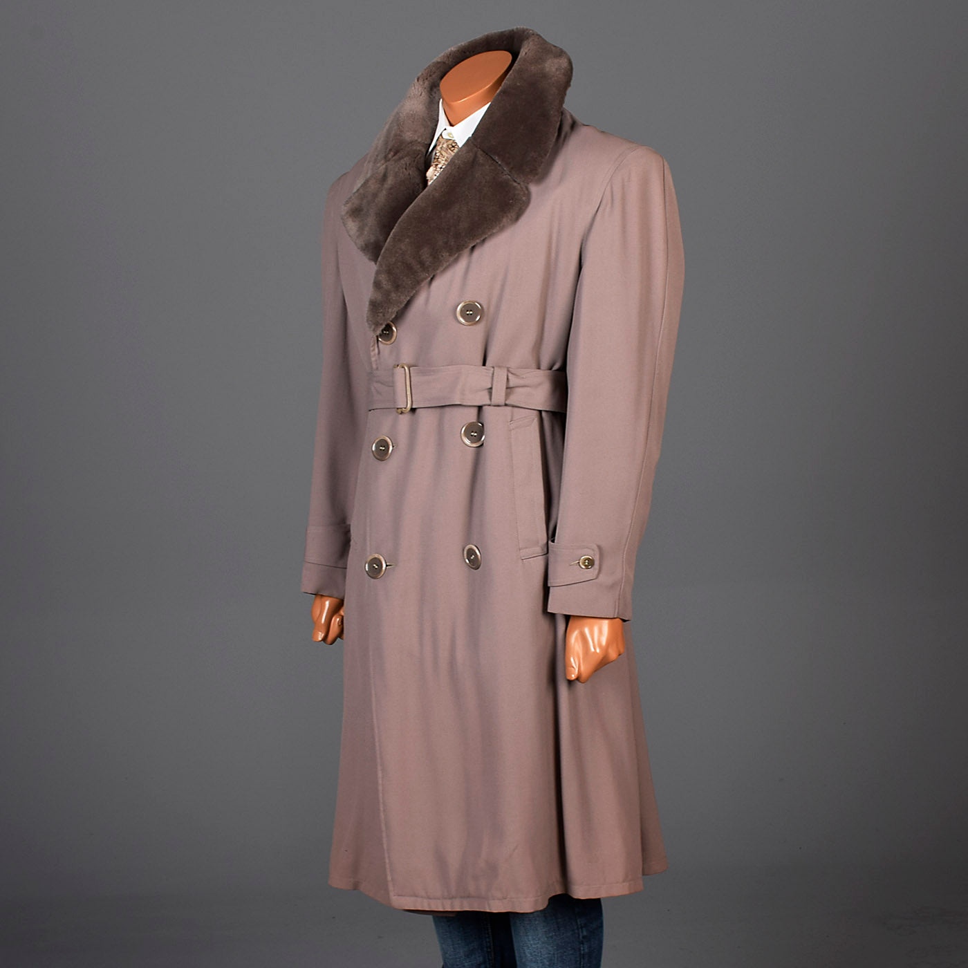 1940s Mens Taupe Gabardine Overcoat with Faux Fur Collar