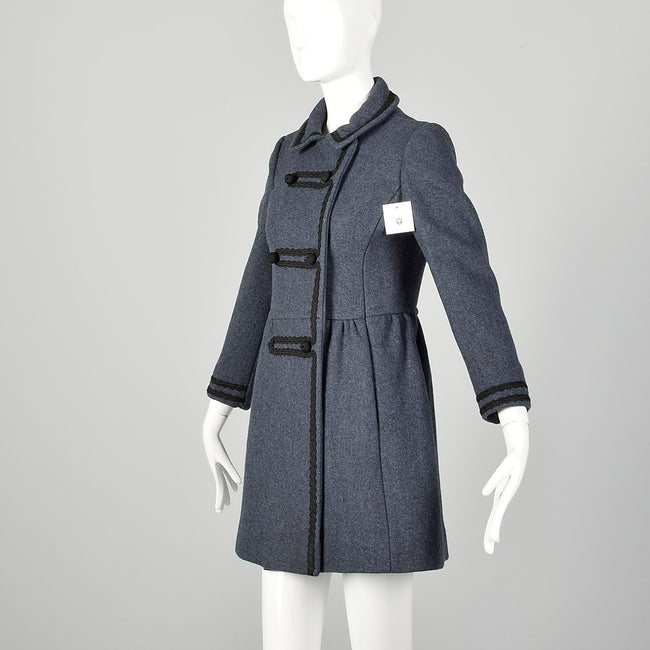 XXS 1960s Coat Blue Wool Babydoll Mod Black Military Trim Winter Heavyweight Winter Coat
