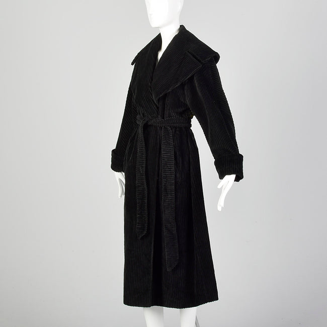 Medium Bill Blass 1980s Black Corduroy Coat