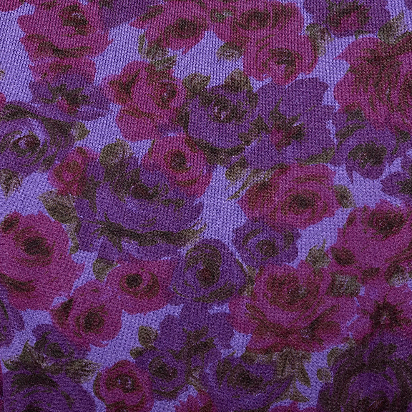 1960s Purple Floral Print Dress