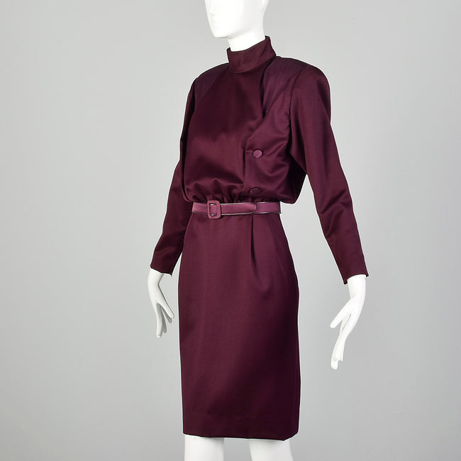Medium Galanos 1980s Purple Dress