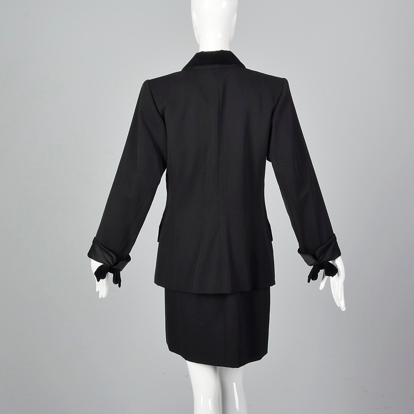 Yves Saint Laurent Rive Gauche Black Skirt Suit with Velvet Trim