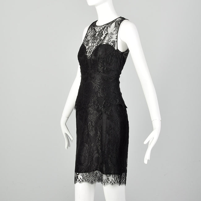 XS Pamela Dennis Matching Black Lace Skirt and Top Dress Set