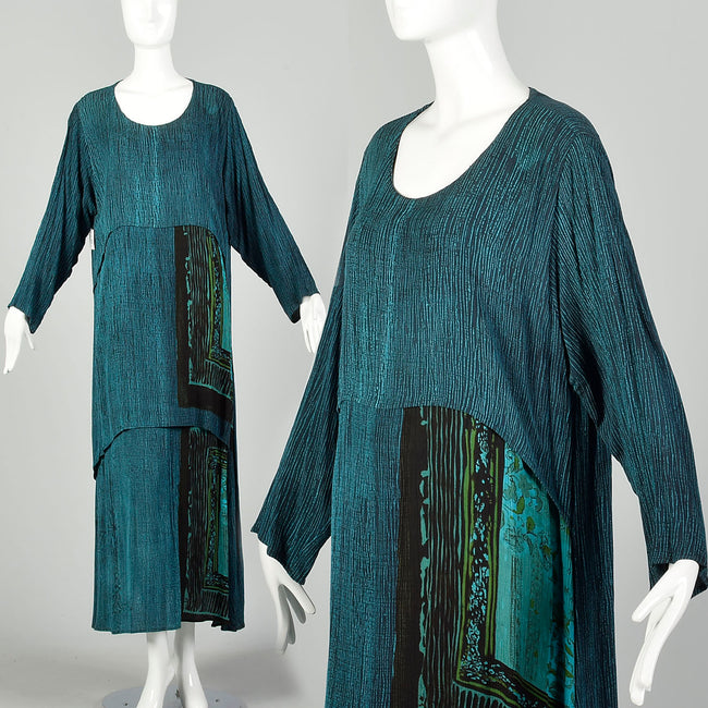 1990s XL-XXL Bohemian Print Dress Layered Maxi Teal Turquoise Gauze