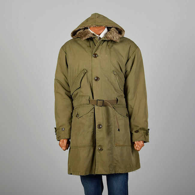 1940s WWII Large Green Army Hooded Parka Coat