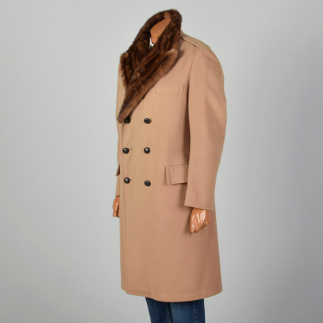 Small 1970s Men's Tan Fur Lined Overcoat