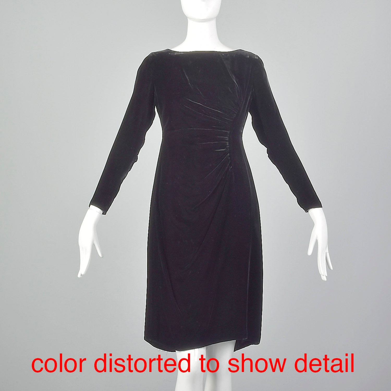 1960s Black Velvet Long Sleeve Dress