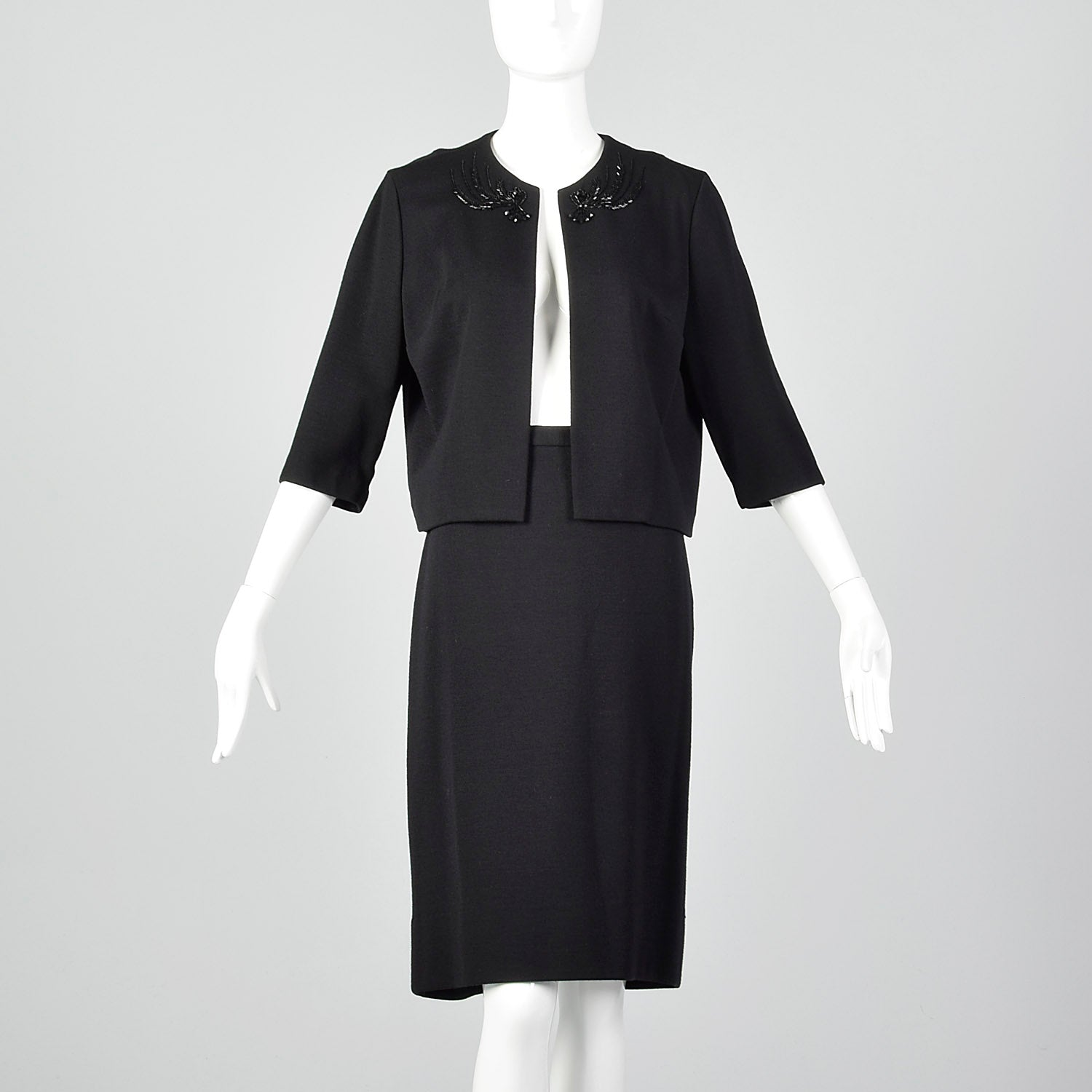 1960s Black Two Piece Knit Skirt Set