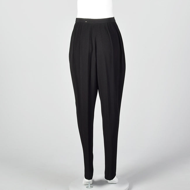 1980s Donna Karan Textured Black Pants with Tapered Leg