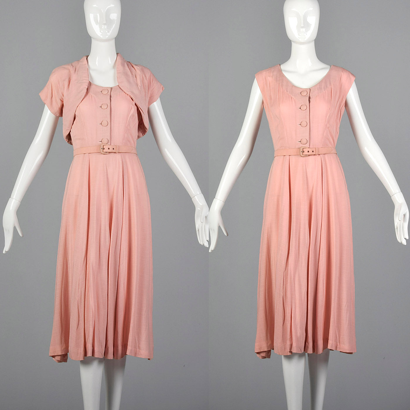 1950s Pink Day Dress with Matching Bolero
