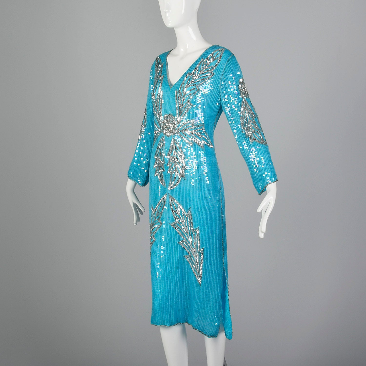 Medium 1970s India Blue Silk Sequin Cocktail Dress