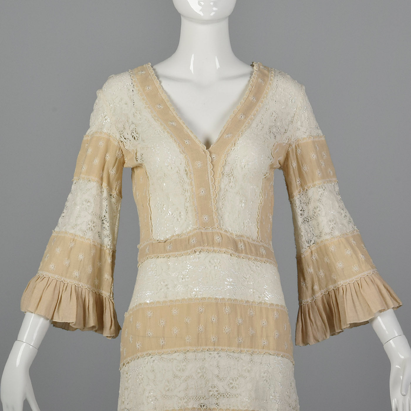 1970s Bohemian Dress with Sheer Lace Panels