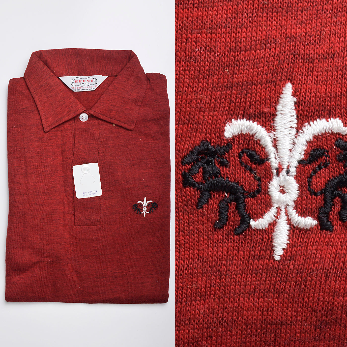 1950s Mens Deadstock Red Knit Shirt with Embroidered Chest Detail