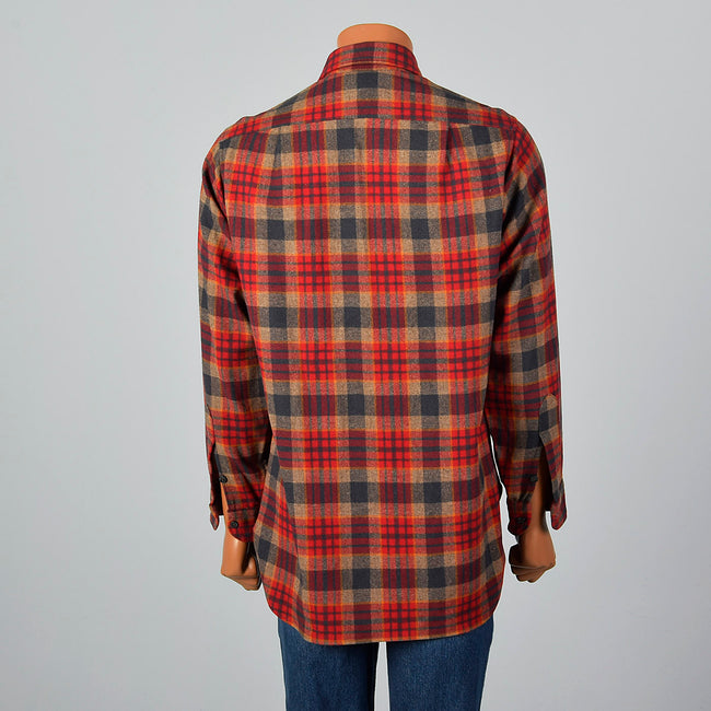 1970s Mens Pendleton Plaid Wool Shirt with Wing Collar