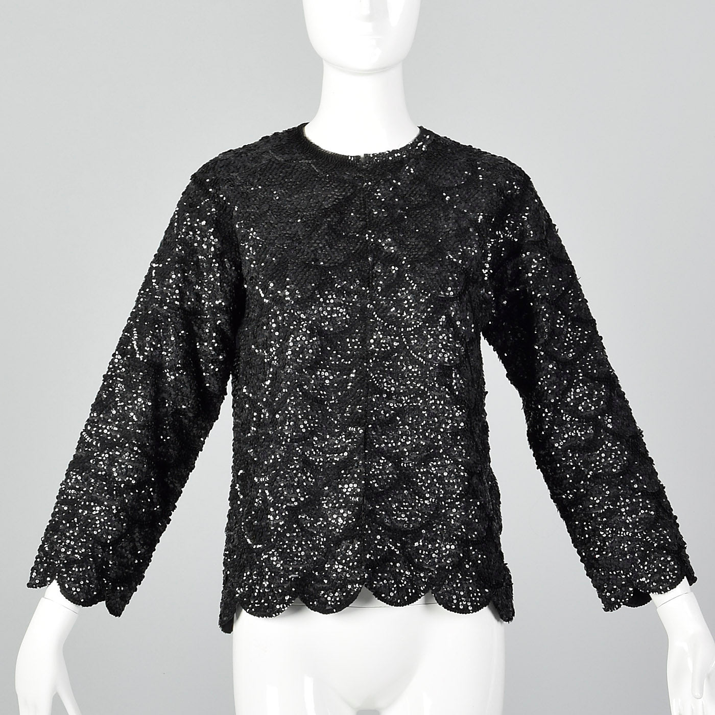 1960s Black Sequin Top with Scalloped Hem