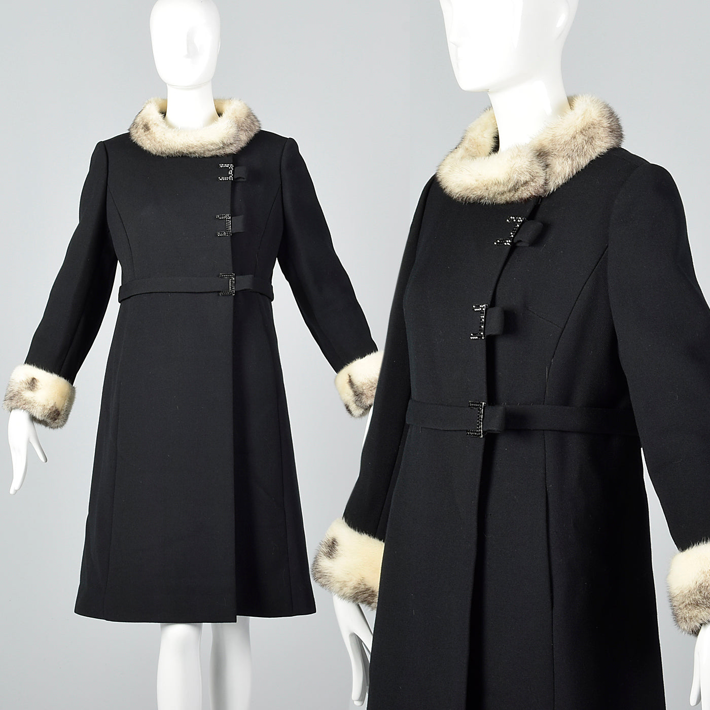 1960s Black Wool Coat with Cross Mink Trim