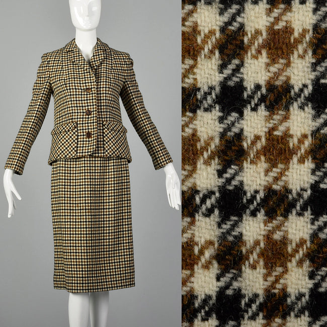 XXS 1960s Brown Skirt Suit