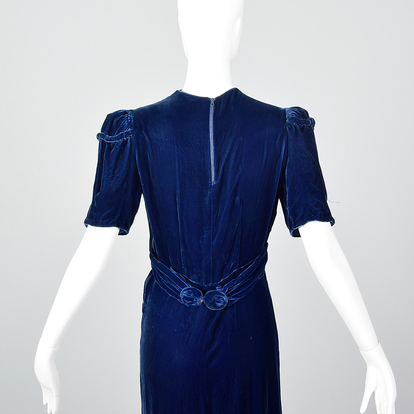 1940s Blue Silk Velvet Gown with Gathered Bust