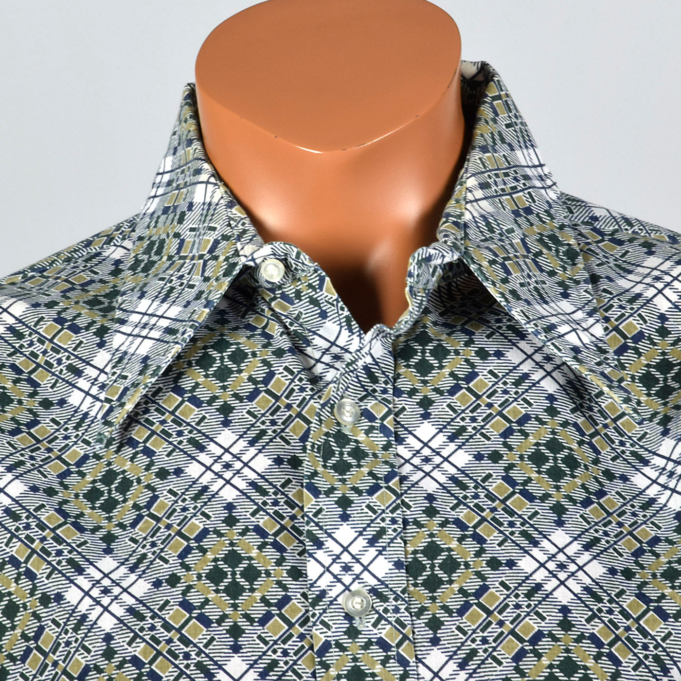 1970s Green Geometric Print Disco Shirt
