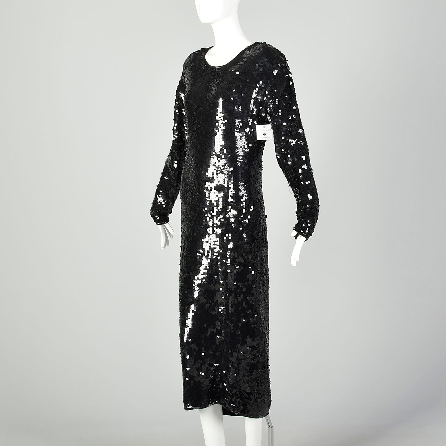 Large Black Sequin Sweater Dress Formal Evening Cocktail Modest Long Sleeve