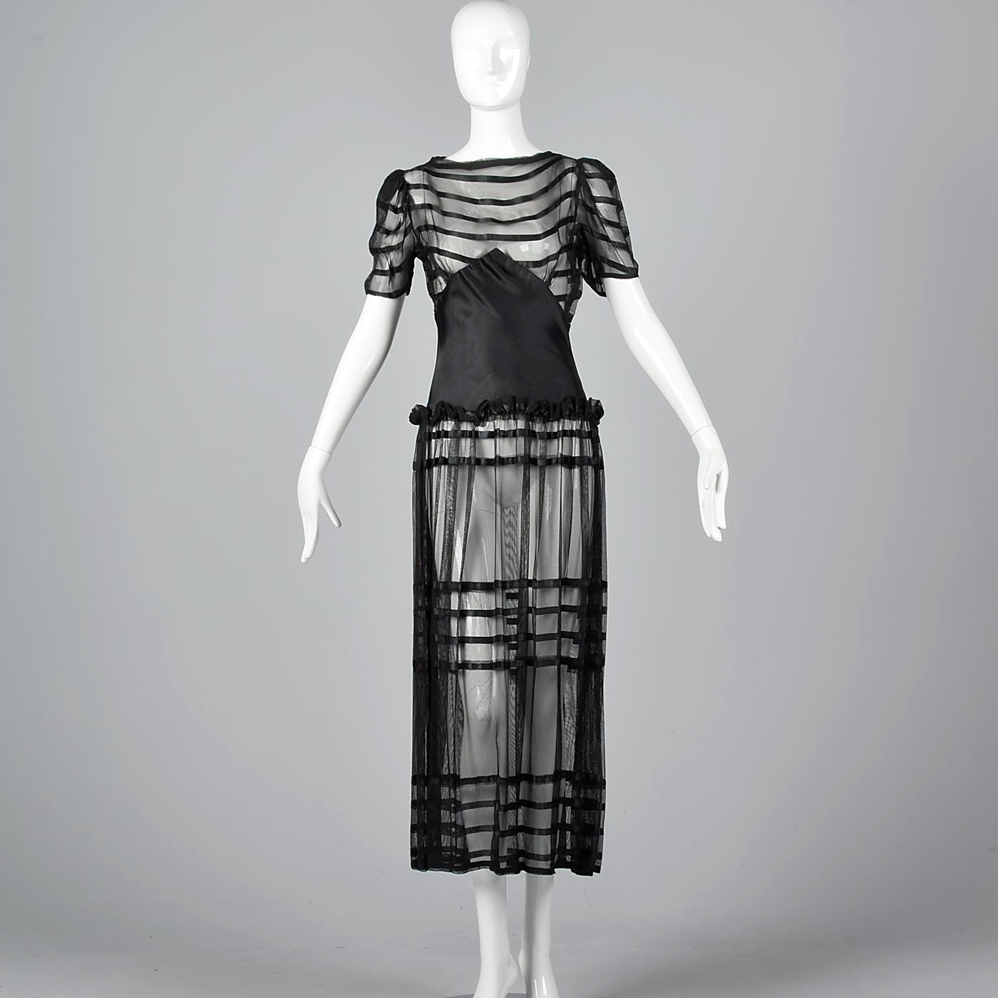 1930s Sheer Black Mesh Dress