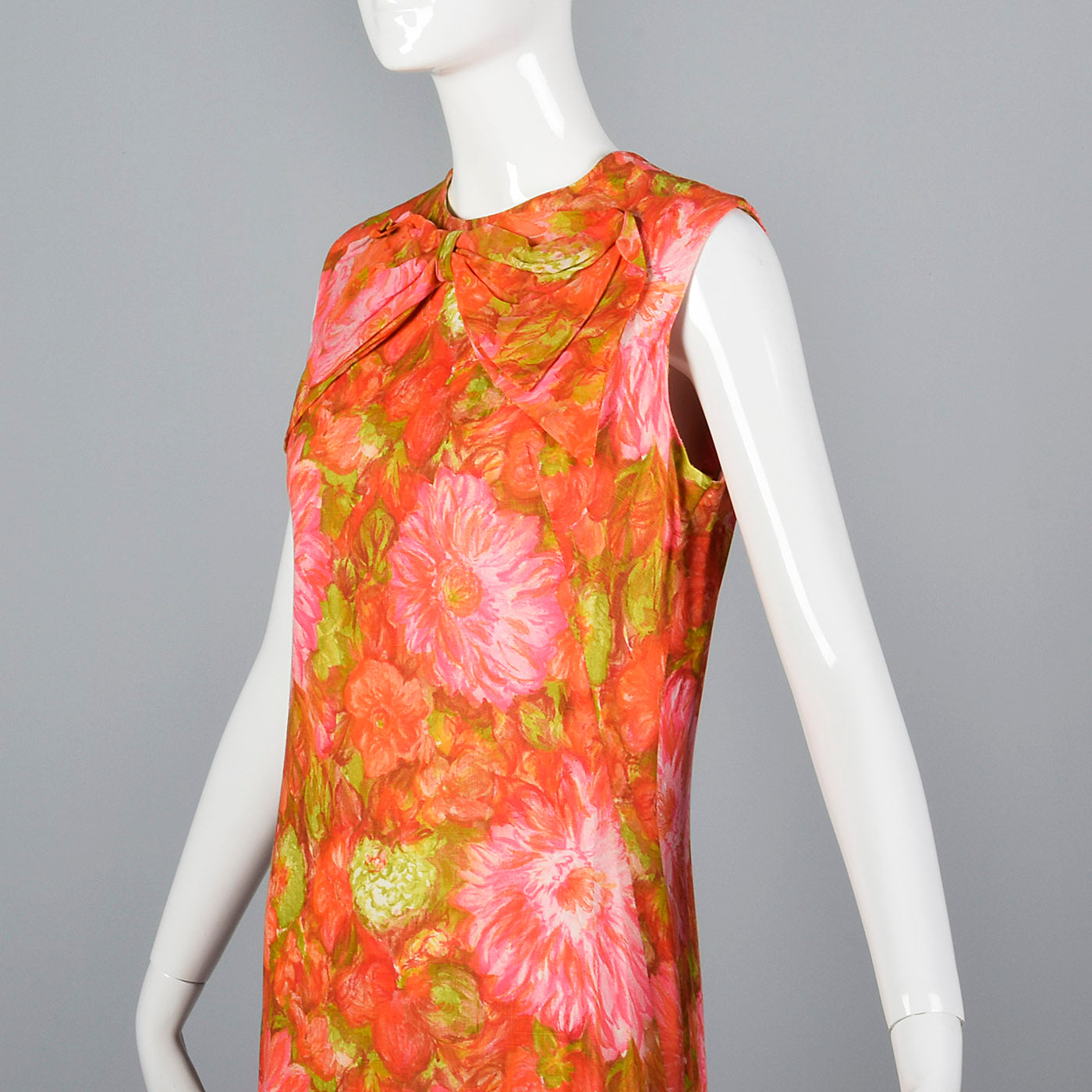 1960s Pink and Orange Floral Shift Dress