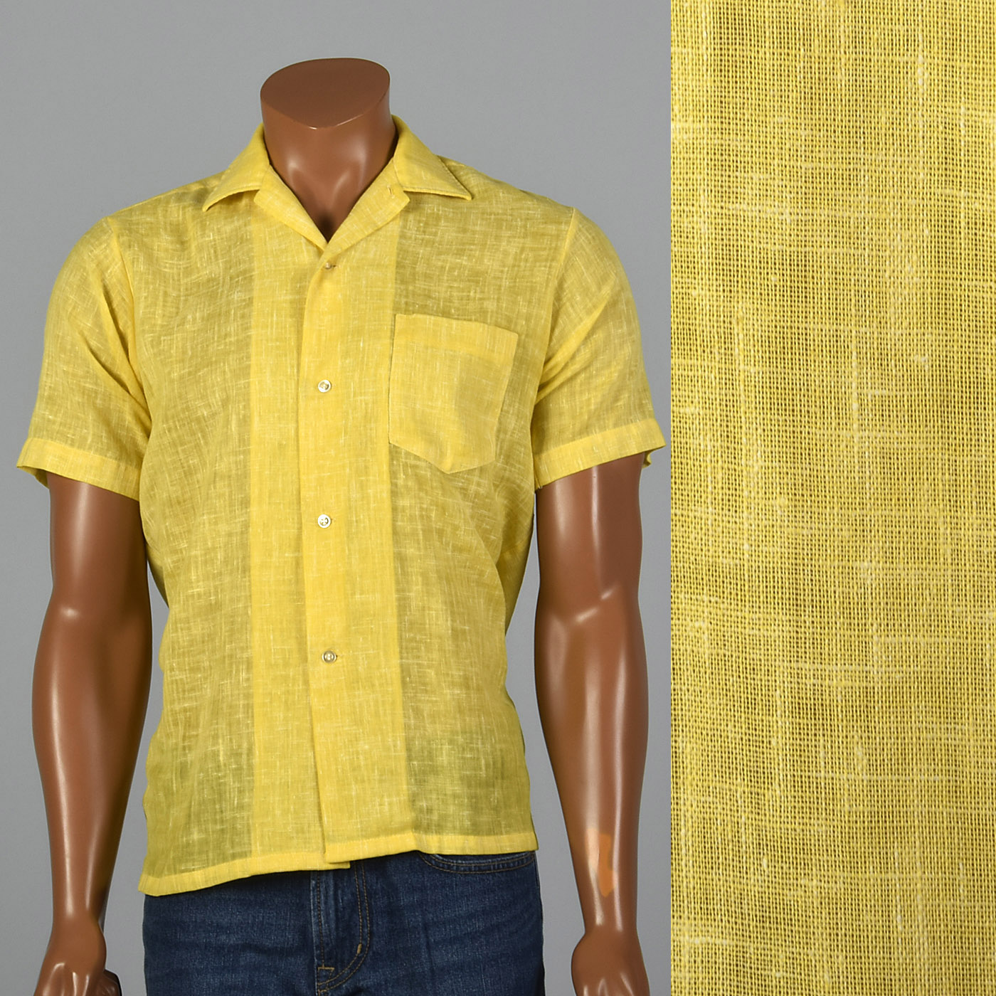1960s Mens Yellow Semi Sheer Short Sleeve Shirt