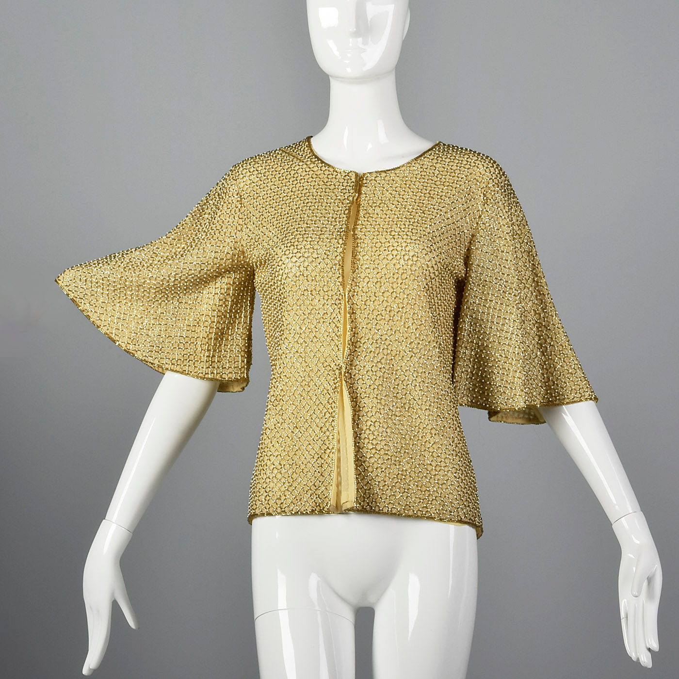 1960s Gold Beaded Cardigan with Flutter Sleeves