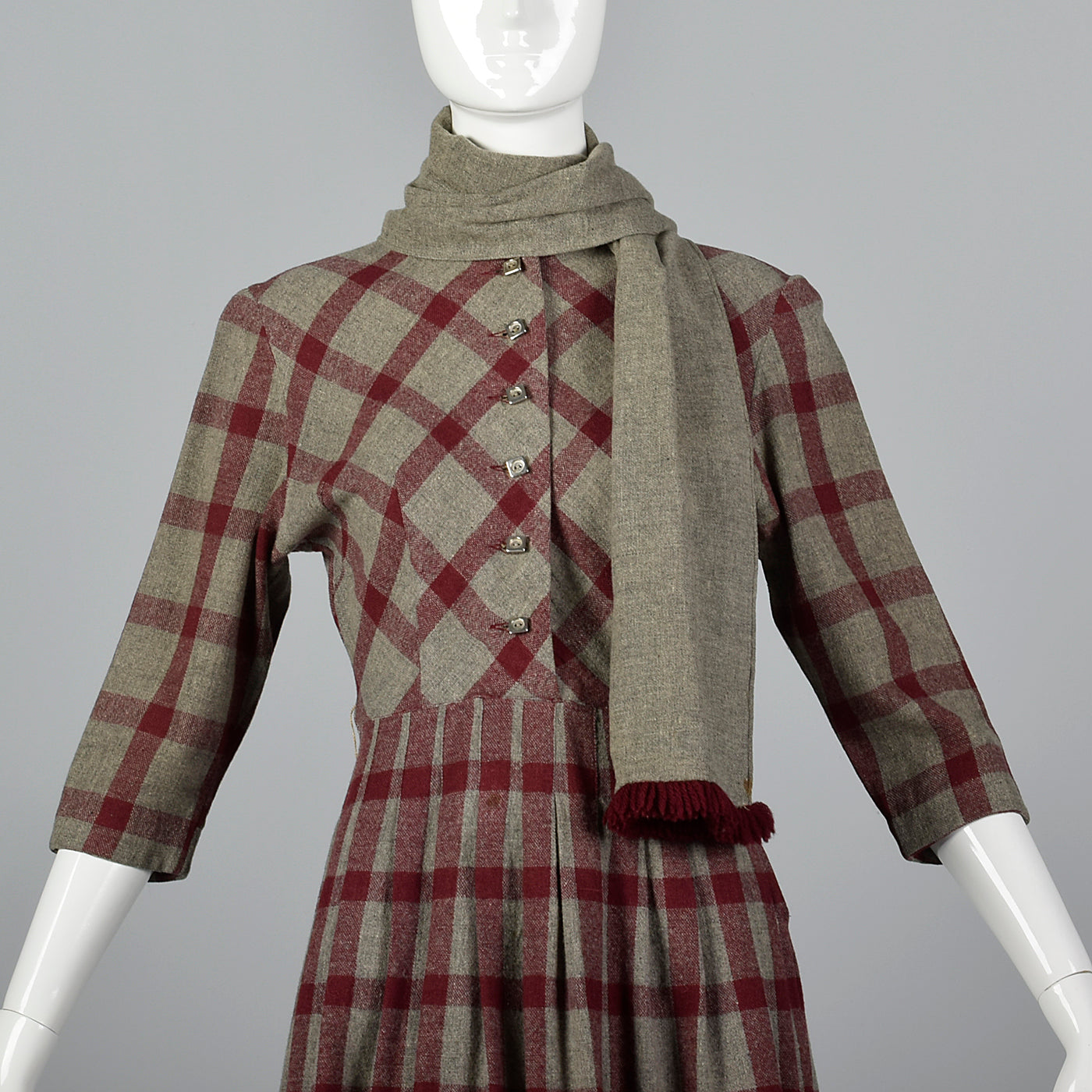 1950s Gray and Burgundy Wool Dress with Matching Scarf