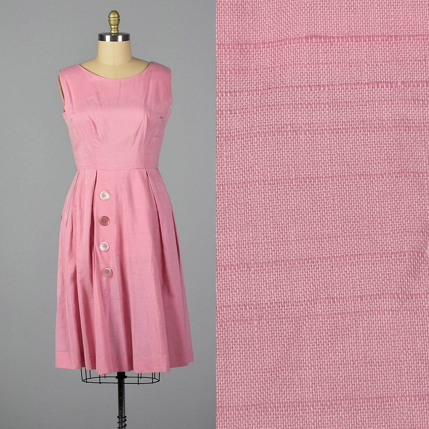 1950s Pink Polished Cotton Dress with Large Buttons