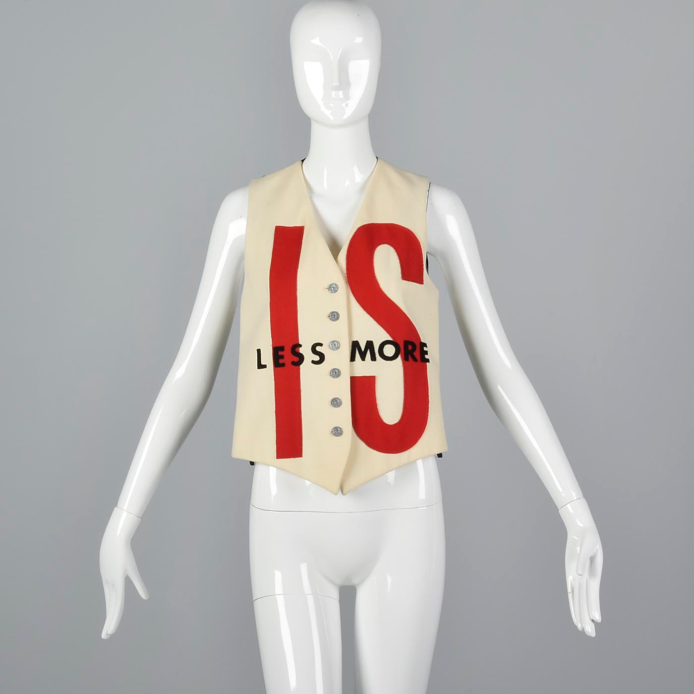 Moschino Less is More Novelty Typography Vest