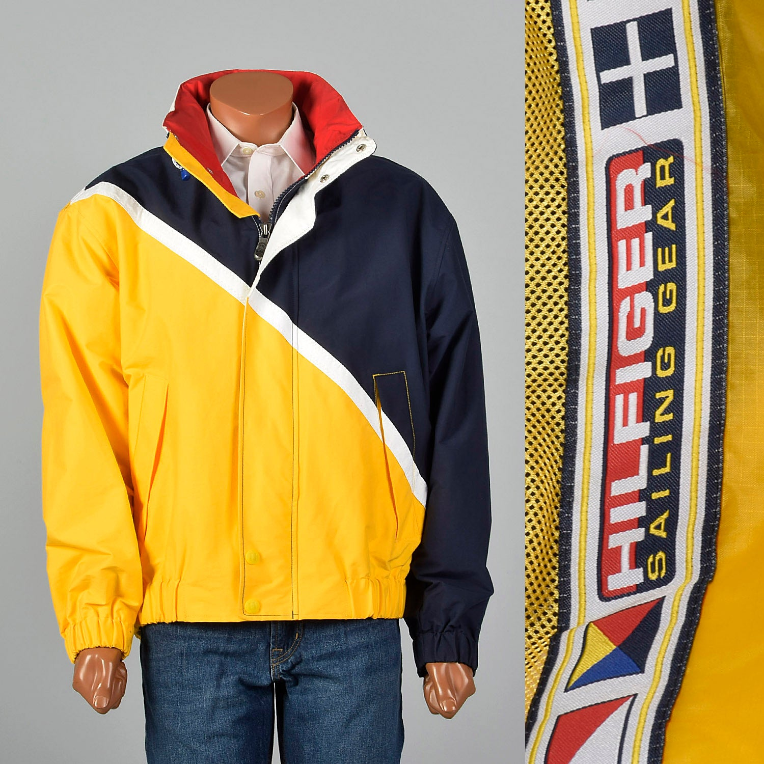 1990s Tommy Hilfiger Sailing Gear Yellow Jacket