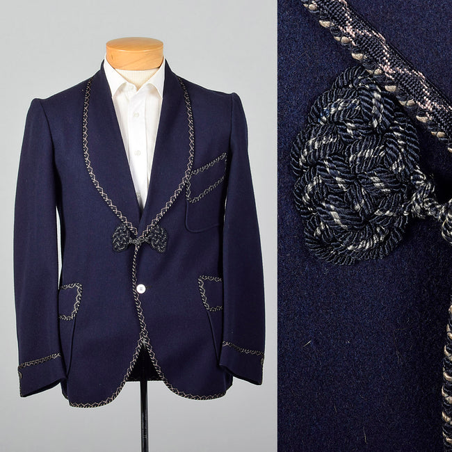 ddb6c829128a0 1950s Navy Blue Smoking Jacket with Braided Trim