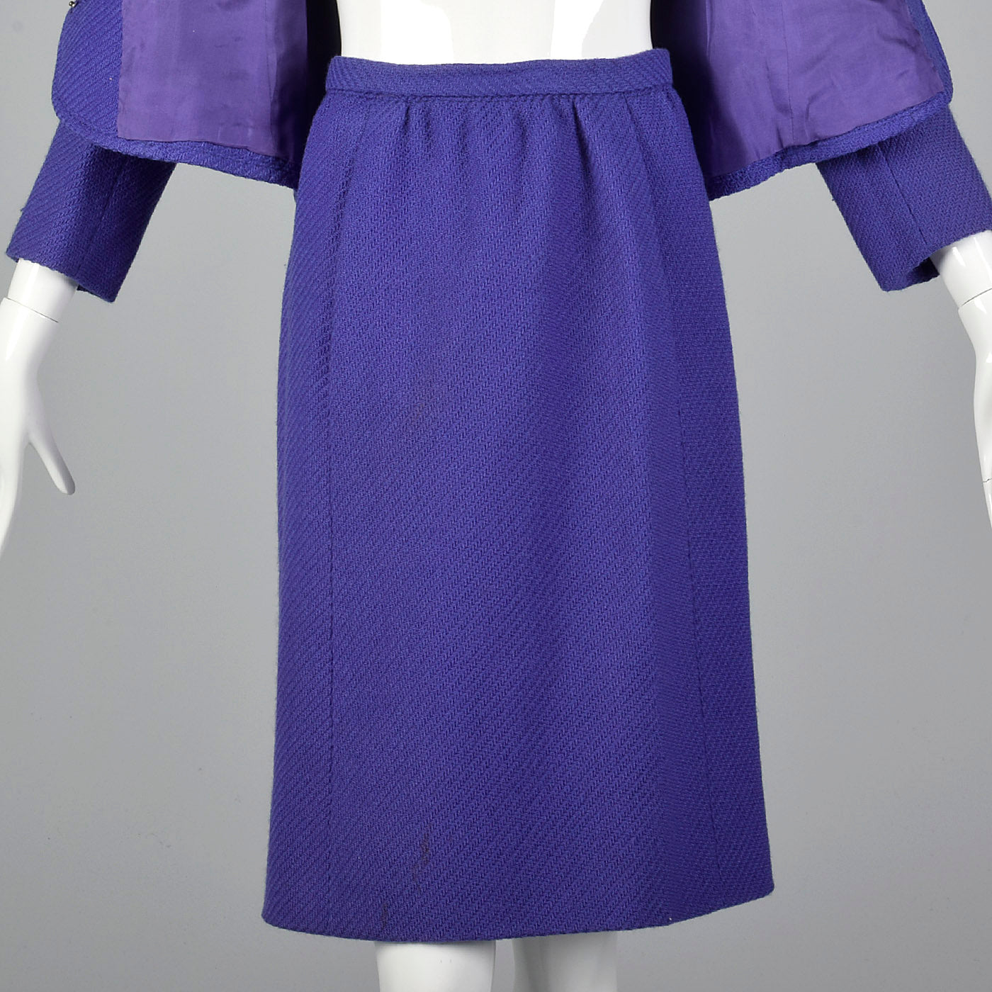 1960s Purple Skirt Suit with Decorative Buttons