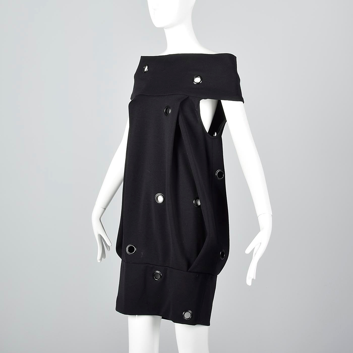 Avant Garde 1980s Gianfranco Ferre Off Shoulder Bubble Dress with Metal Grommets