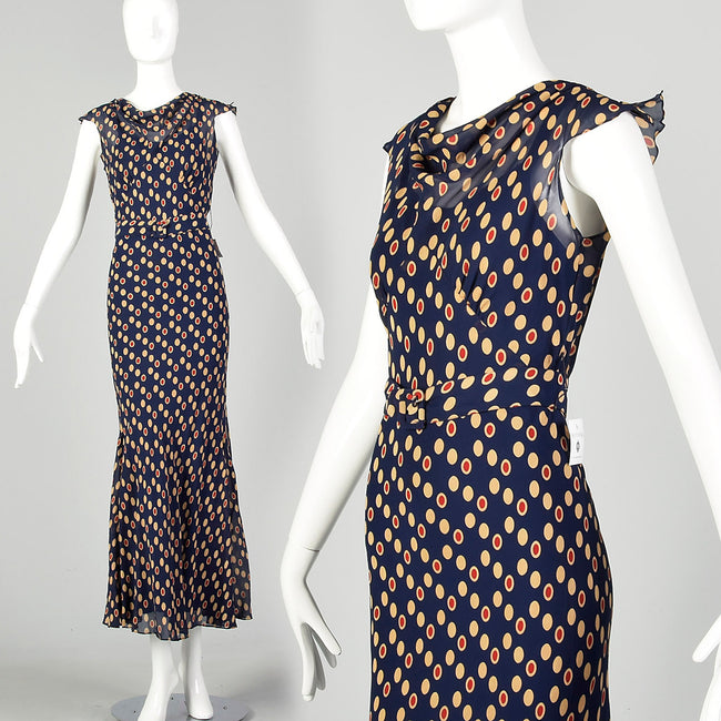 XXS 1930s Navy Blue Bias Cut Dress Sleeveless Polka Dot Print